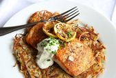 Seared Salmon with Potato Pancakes and Yogurt Sauce #searedsalmonrecipes Seared ...   - badmanchild - #badmanchild #Pancakes #Potato #salmon #Sauce #Seared #searedsalmonrecipes #Yogurt #searedsalmonrecipes