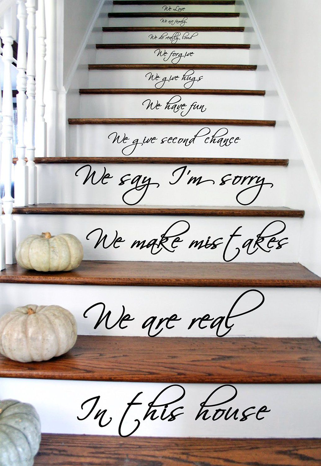 33x60 cm in this house we do we love words text quote stairs or vinyl stairs decal quote in this house we are family we love do inspirational text wall art decor home sticker free random decal gift amipublicfo Choice Image
