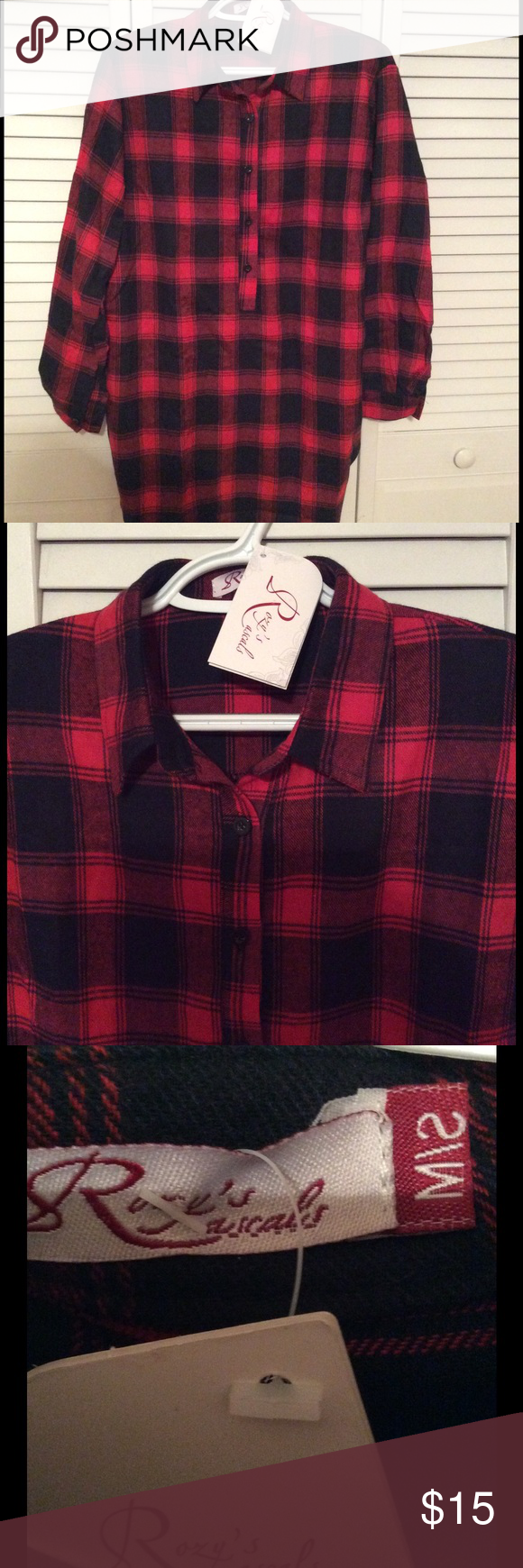 NWT Plaid Button Up Tunic Brand new plaid tunic length button up ladies top. Rozy's Rascals Tops Button Down Shirts