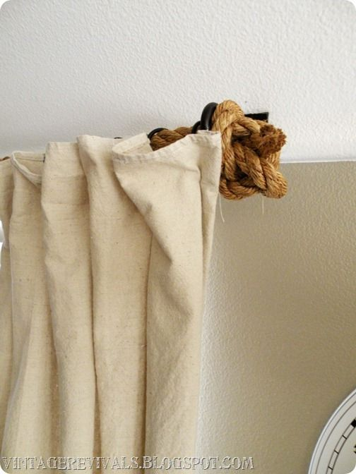 Rope Curtain Rod Tutorial From Vintage Revivals I Saw This On