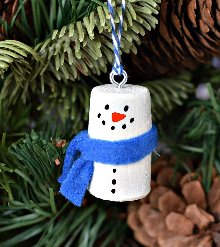 Make snowman Christmas tree ornaments using recycled