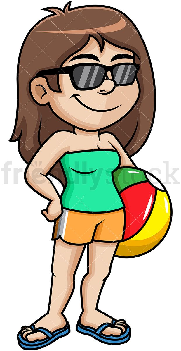 eaaf38a0d4c7de Cool Woman Holding Beach Ball  Royalty-free stock vector illustration of a  woman with long brown hair dressed for summer. She is wearing sunglasses  and flip ...