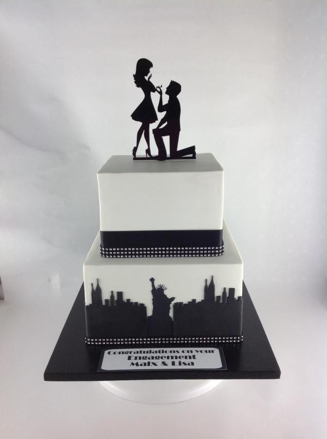 new york theme engagement cake cake by classinacake. Black Bedroom Furniture Sets. Home Design Ideas