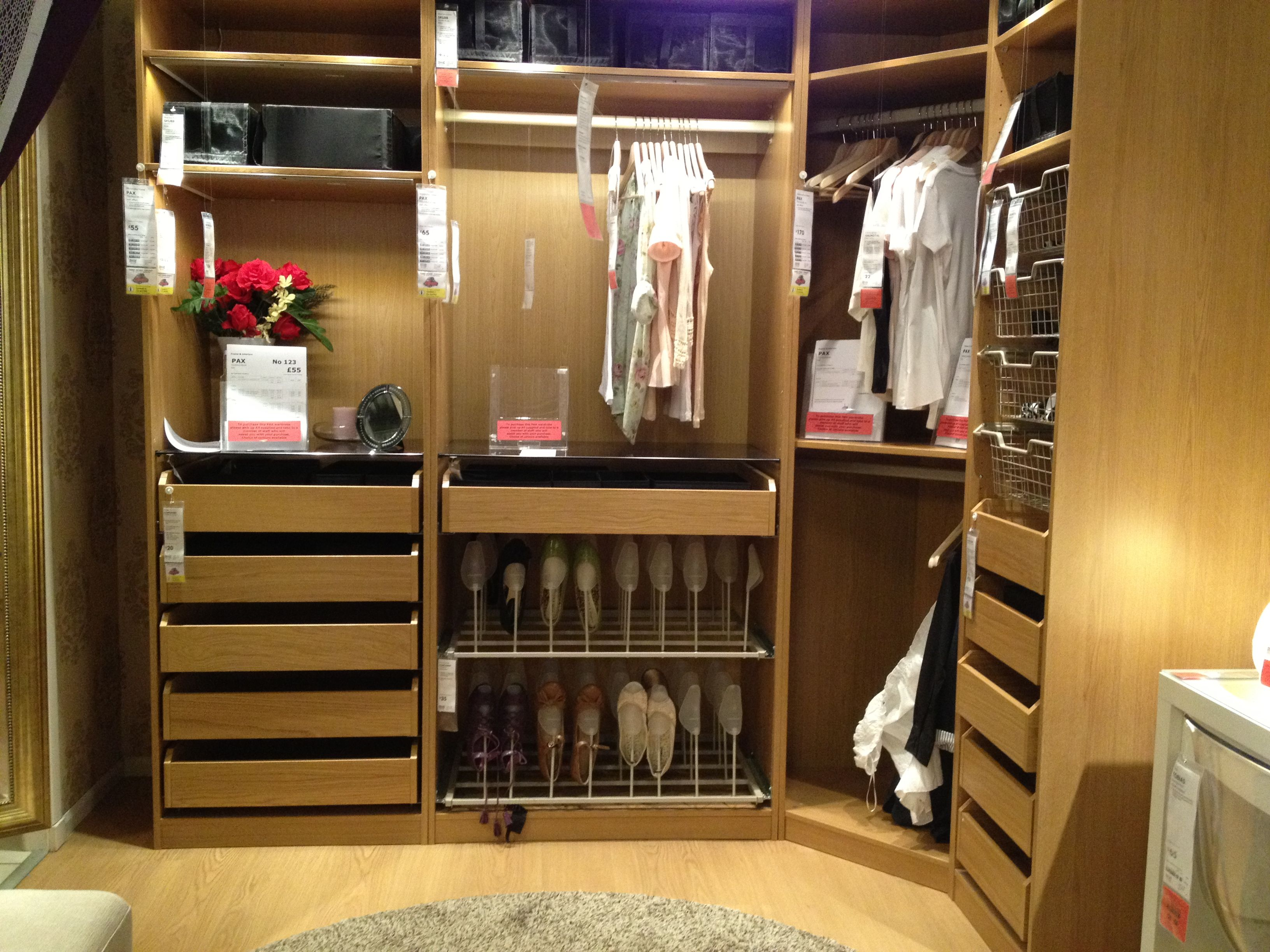 Pax frame interior with komplement drawers, shelf, wire