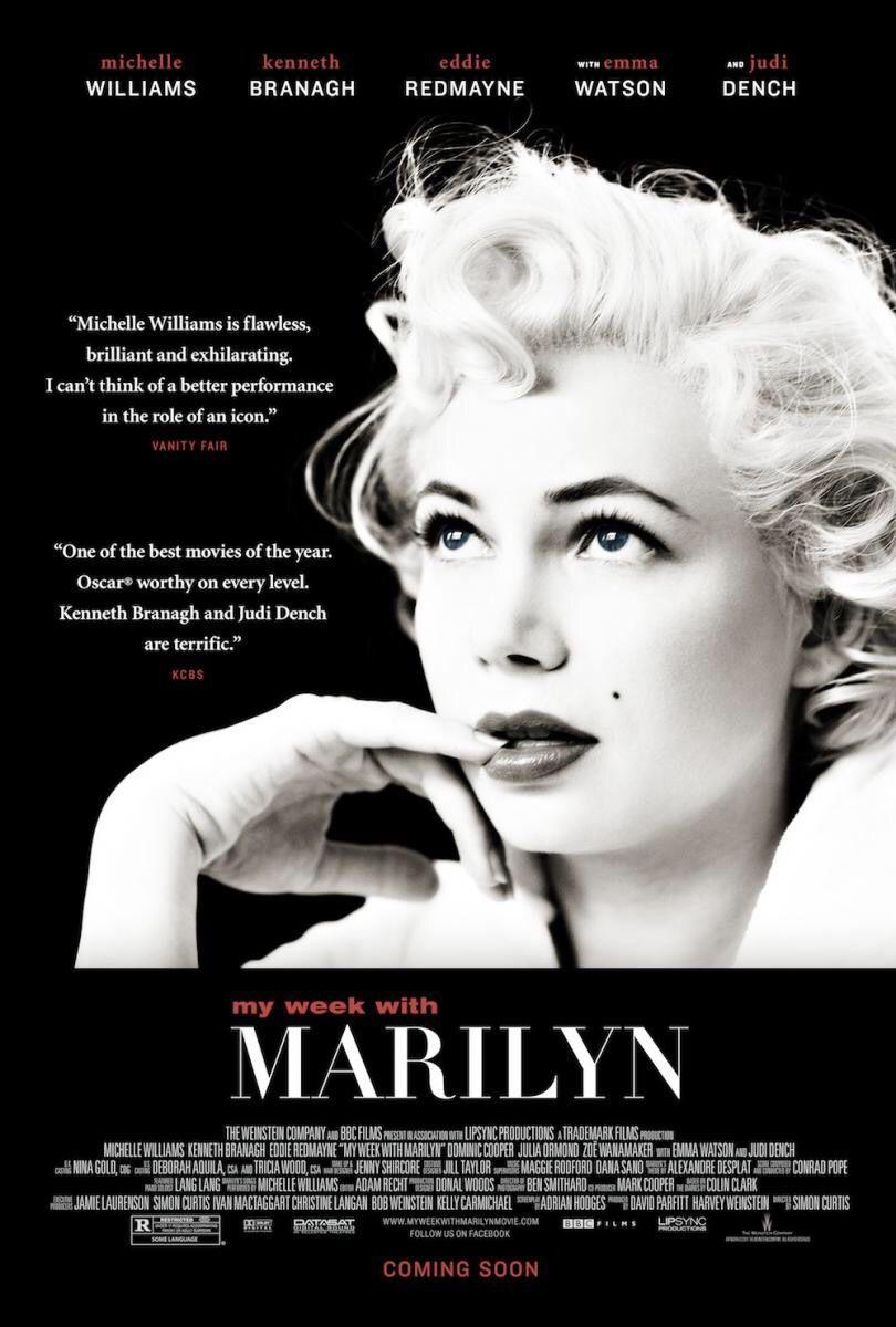 """""""Mi semana con Marilyn"""" (Simon Curtis, 2011) con Michelle Williams, Eddie Redmayne y Kenneth Brannagh."""