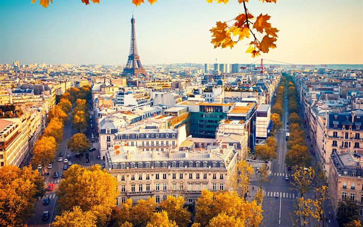 Download Wallpapers Eiffel Tower Paris Autumn Yellow Trees Cityscape Streets Paris Attractions France Besthqwallpapers Com フランス 観光 パリ旅行 フランス旅行