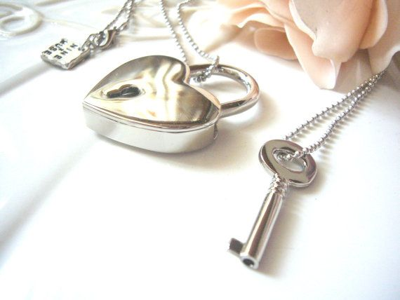 Silver heart lock and key set - hang the heart from her bouquet and the key from his boutonnierre!