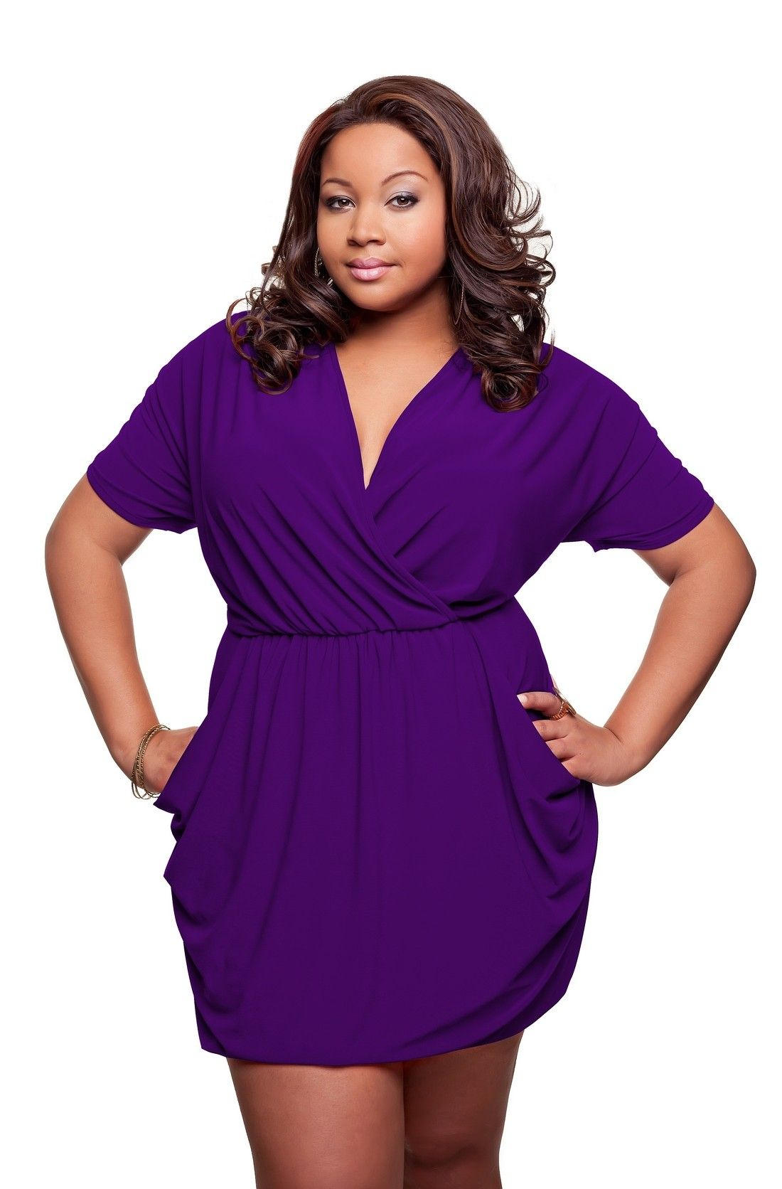 69 Plus Size Length Adjustable Dress In Purple And Worn Short Plus