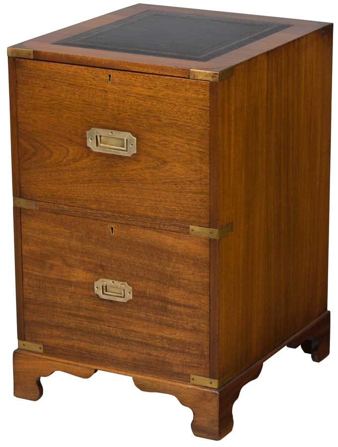 Antique Campaign Or Military Style File Cabinet W Leather Top