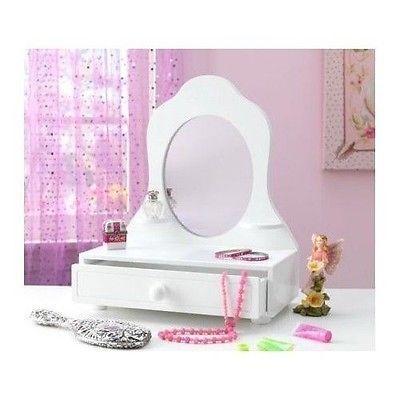 New Tabletop Vanity Mirror Sided Makeup Table Kids Fun Play Princess Kit Ebay Kids Vanity Personalized Vanity White Table Top