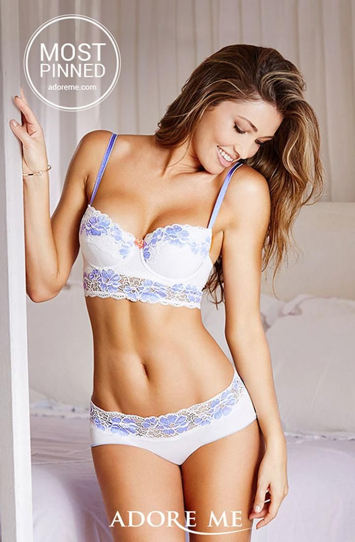 81d68fdab09 White and periwinkle - gorgeous color combination! Shop this set from Adore  Me Lingerie