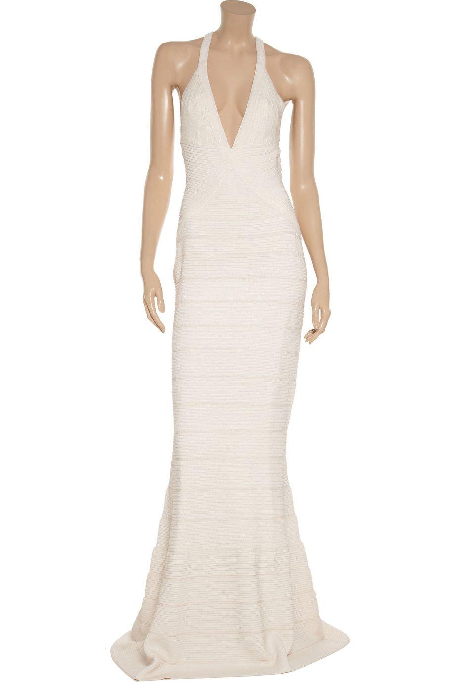 Hervé léger beaded bandage gown threads pinterest designer dresses