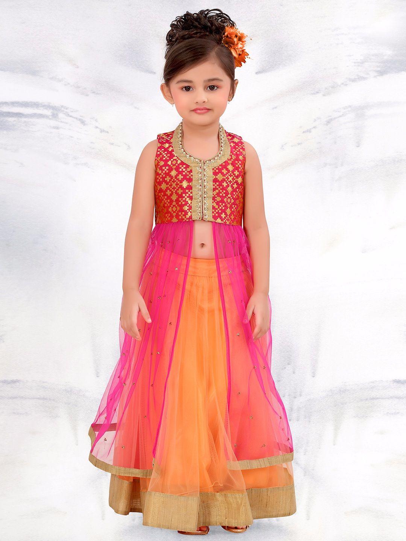 cc2288fa00f13 Net Orange Wedding Wear Lehenga Choli