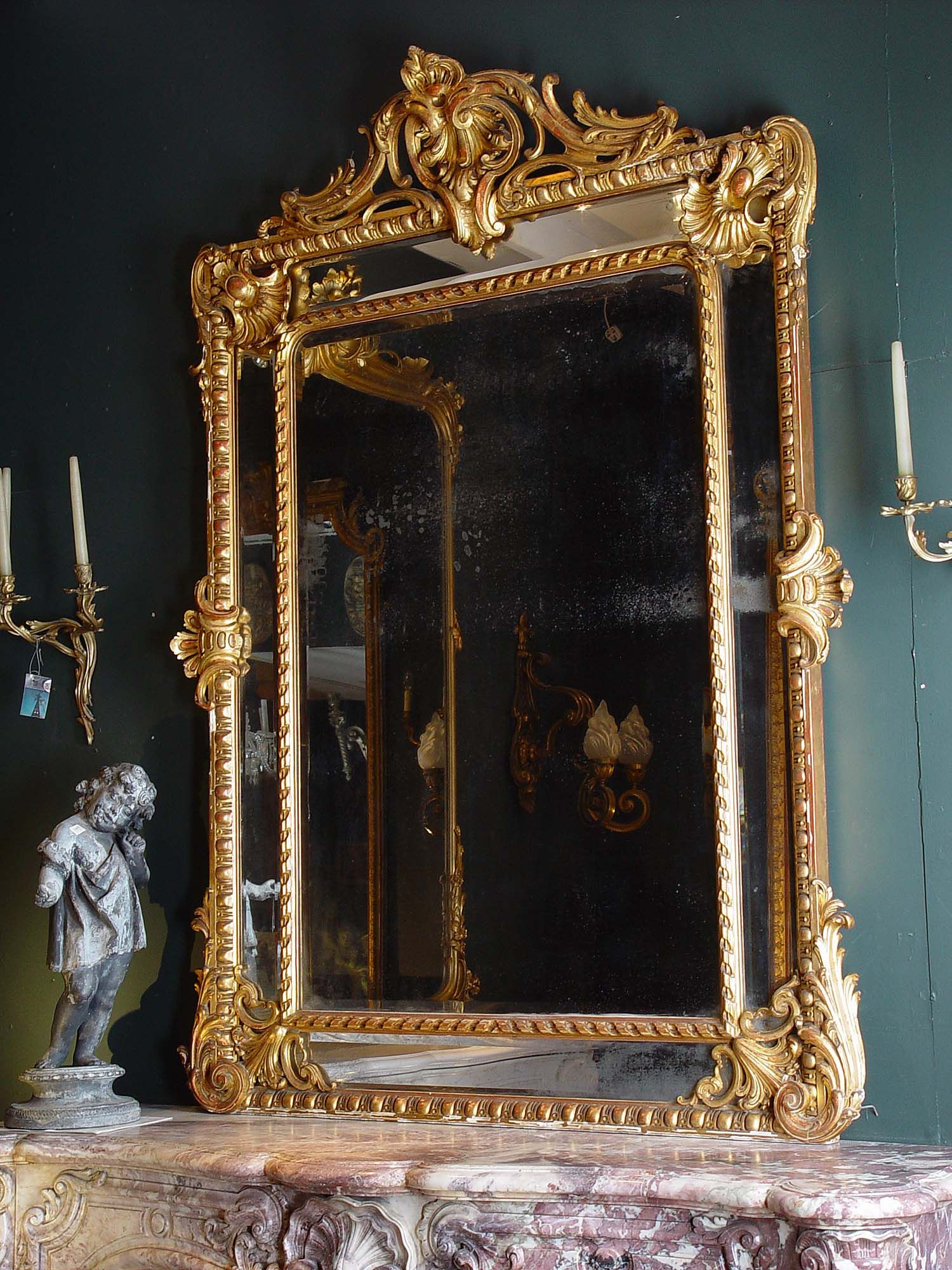 Antique Large French Gilded Mirror In English Regency Style Gilded Mirror Gold Framed Mirror Mirror