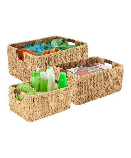 Honey Can Do Three Piece Water Hyacinth Basket Set