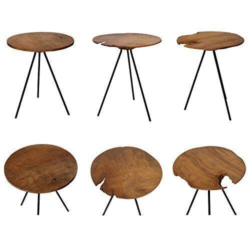 Design Beistelltisch Couchtisch Tisch Teakholz Eisen Holz Teak Rund Braun Metall Vintage Massiv Edel Beistelltisch Holz Couchtisch Teak Design Beistelltisch