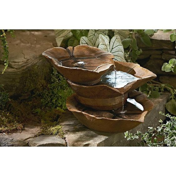Outdoor Waterfall Fountains 3 Tier Leaves Cascading Pump Garden Water Decor Yard Water Fountains Outdoor Fountains Outdoor Outdoor Waterfall Fountain