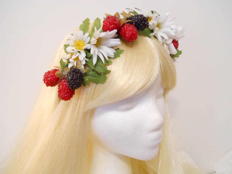 Daisy Flower Crown Berry Headband Wreath Daisies Raspberries