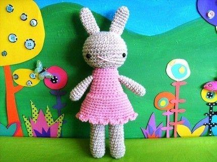little hope.......amigurumi bunny girl doll- pink dolly dress, pale beige rabbit girl, easter plush doll crocheted