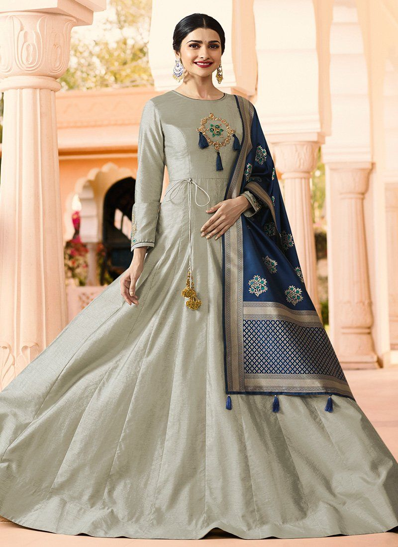 Light grey and blue embroidered silk anarkali gown in blouse