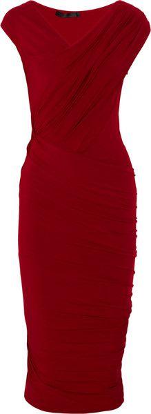 DONNA KARAN Draped Stretch-jersey Dress
