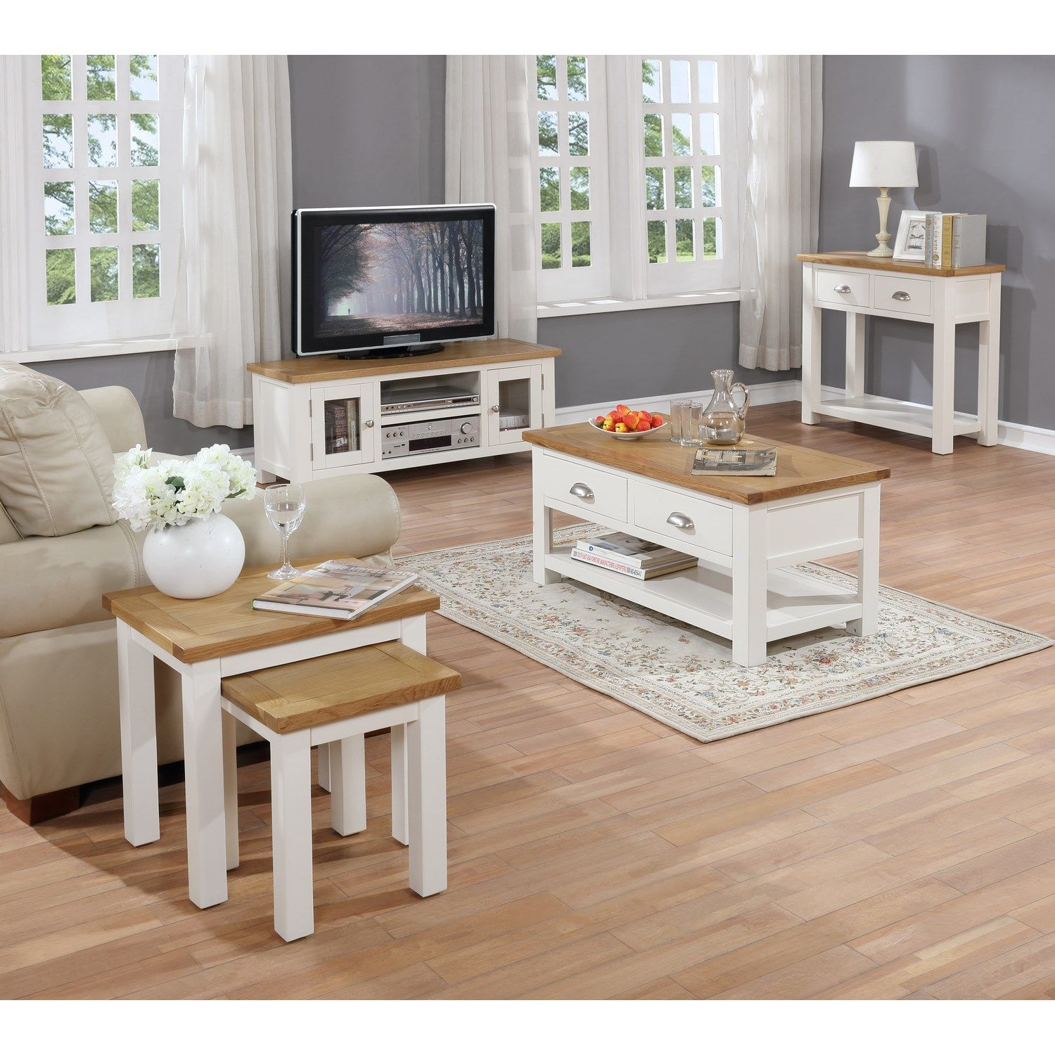 The Willow Cream And Oak Collection White Furniture Living Room Coffee Table Living Room Furniture #two #coffee #tables #living #room