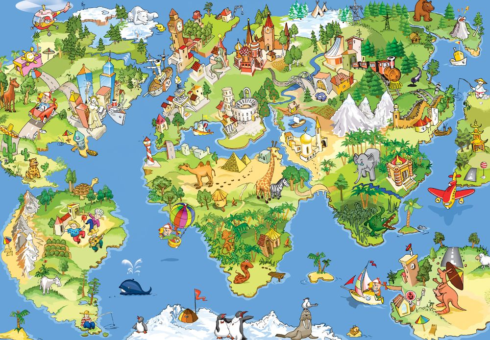 Cartoon world map with monuments and animals childrens wall mural cartoon world map with monuments and animals childrens wall mural gumiabroncs Gallery