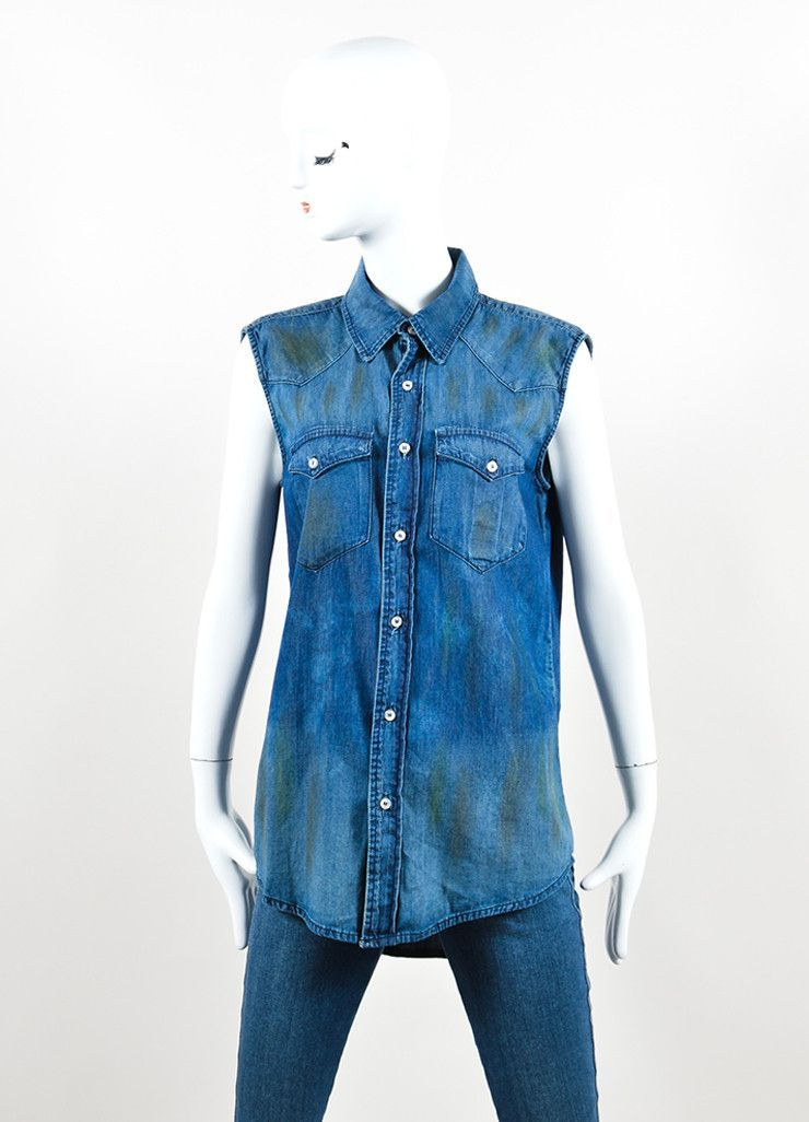NSF Blue Denim Distressed Button Up Sleeveless Top