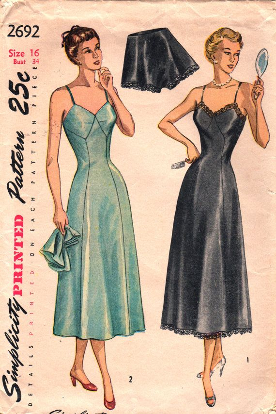 Simplicity 2692 1940s Ladies Lovely Lingerie Pattern Misses Slip and ...