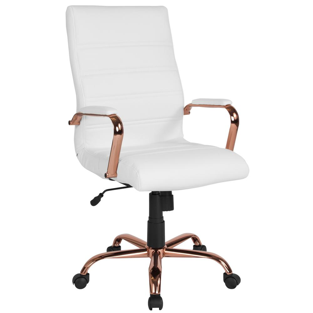Chair Flash Frame Furniture Gold Gold White Office Decor Work Spaces Leatherrose Officedesk Wh In 2020 Leather Office Chair White Office Chair Flash Furniture