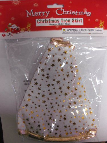 """Save $8.00 on White Christmas Tree Skirt With Gold Stars & Trim (Diameter 19 3/4""""). A Colorful, & Festive Addition To Your Family`s...; only $1.95"""