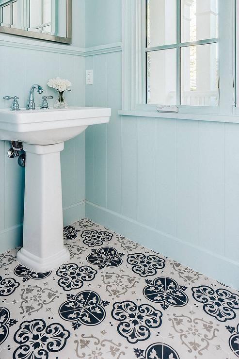 Blue And Gray Powder Room Powder Room Design Shiplap Trim Powder Room