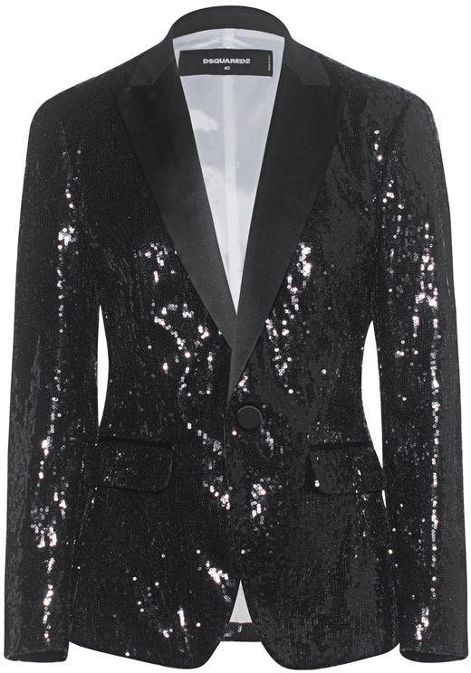 fe1fa04a17a DSQUARED2 Sequin Blazer Black