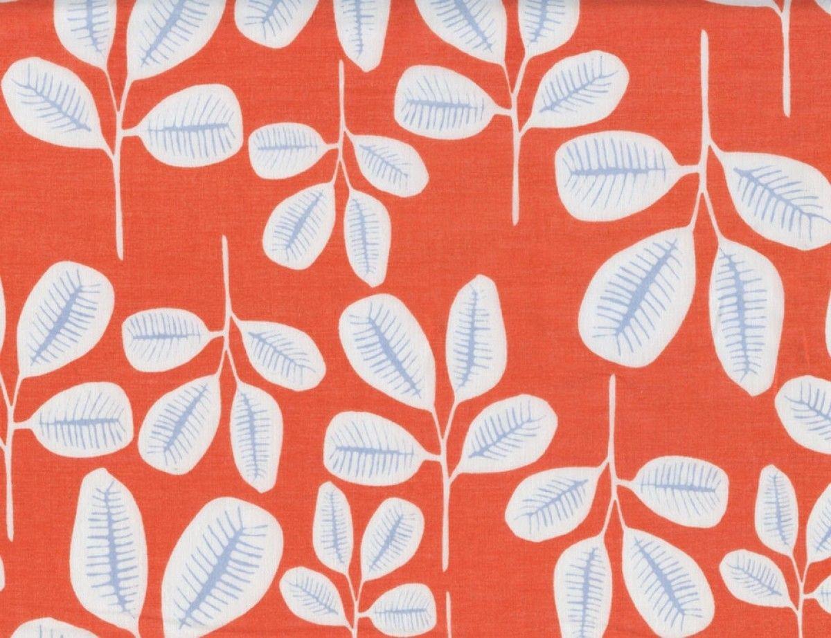 Fashion Apparel Fabric - Friday Fronds Organic Batiste Tangerine - Employee Favorite!!! | Harts Fabric