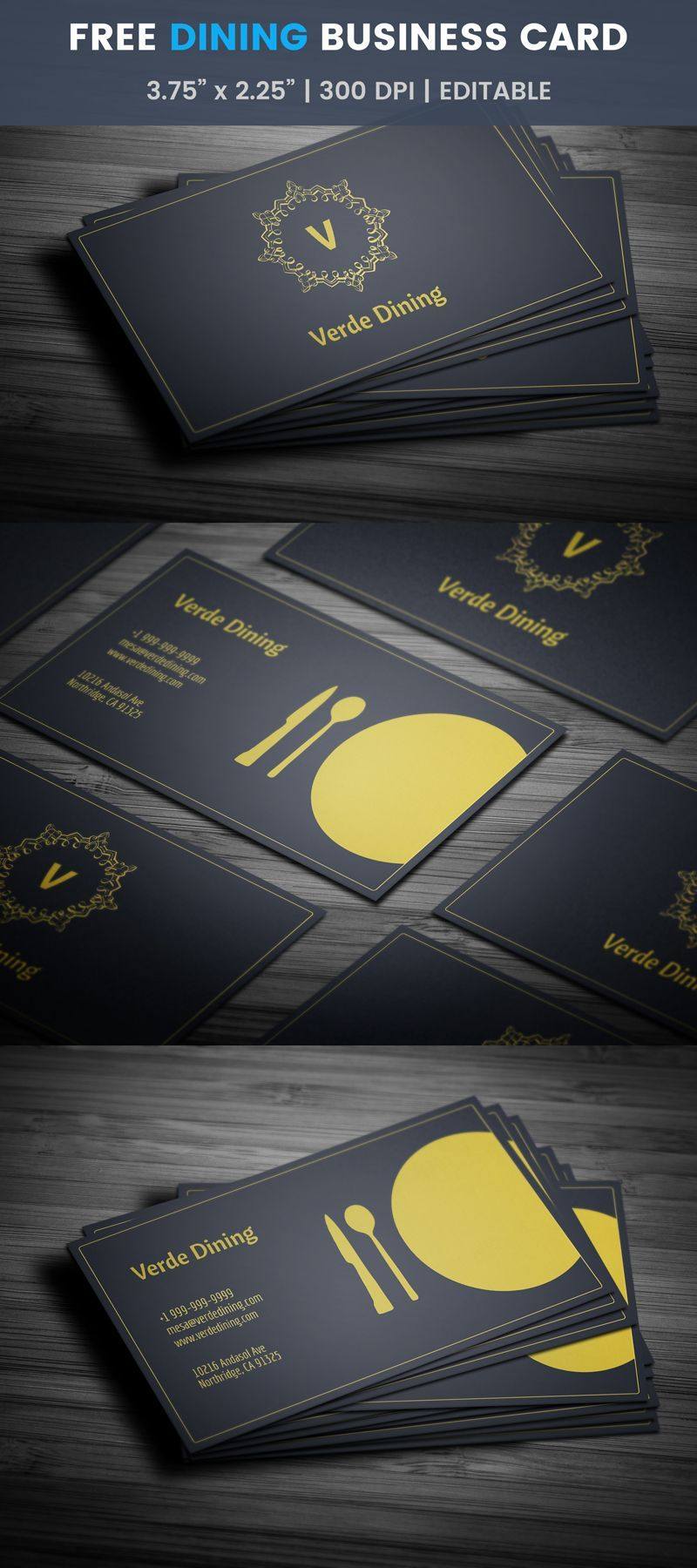Free Artistic Restaurant Business Card Template Food Design