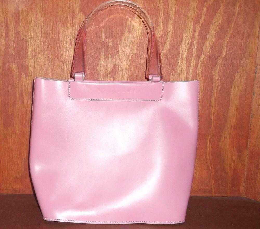 Lamarthe Paris Pink Leather Shopper Tote Bag #Lamarthe #TotesShoppers