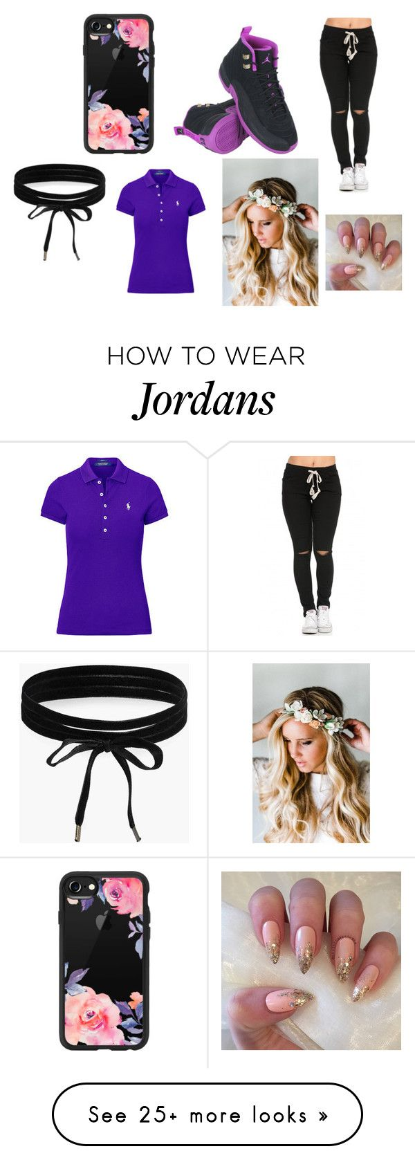 """shoe outfit #67"" by bettyyolo on Polyvore featuring Casetify, NIKE, Boohoo, Ralph Lauren and Emily Rose Flower Crowns"