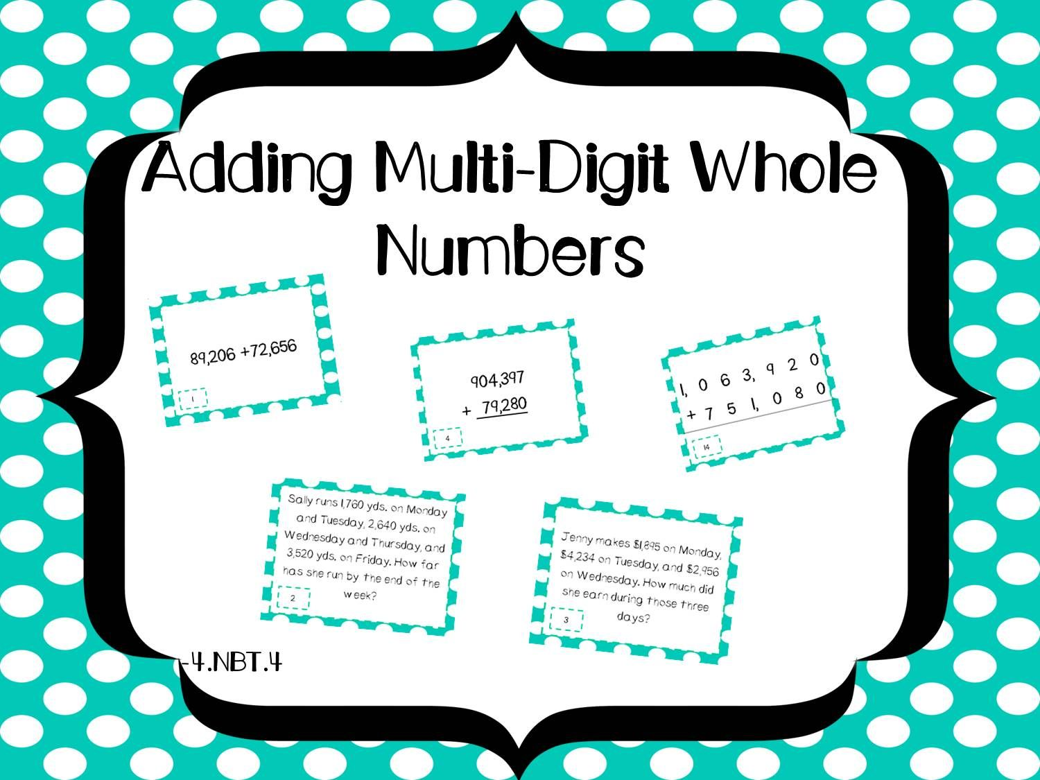 Have your students practice and review adding multi-digit whole numbers using these task cards. These come in handy for test review, centers, whole class practice and more!  This packet contains: +32 task cards including word problems +answer key  See more at smithsonthecoast.blogpot.com