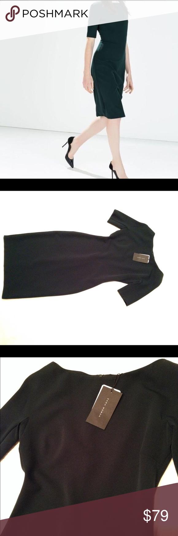 "Zara dark green pencil dress Zara dress , chest 34"" waist 29"" hips 36"" length 42"" , 85% polyester 15% elastane Zara Dresses Midi"