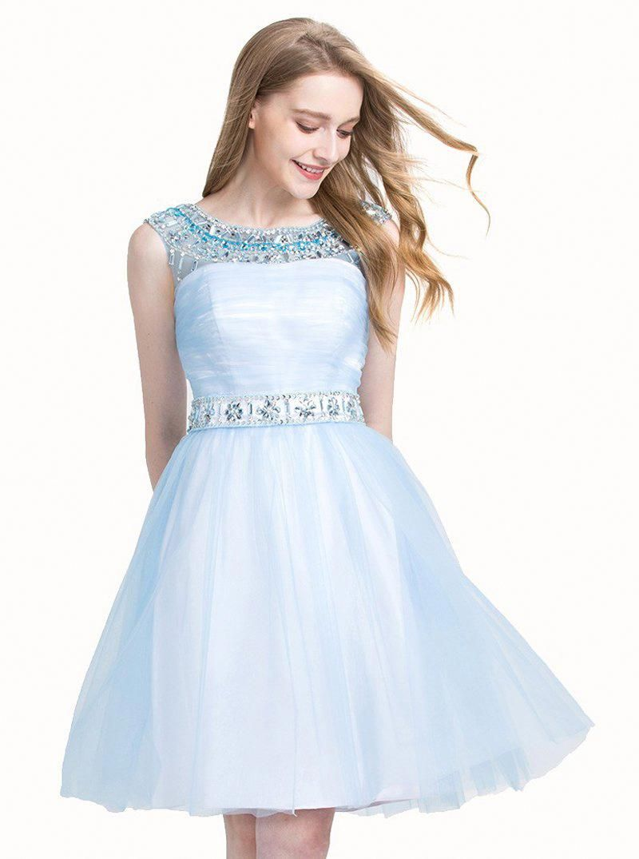 Light blue sweet dresses shortknee length sweet dress