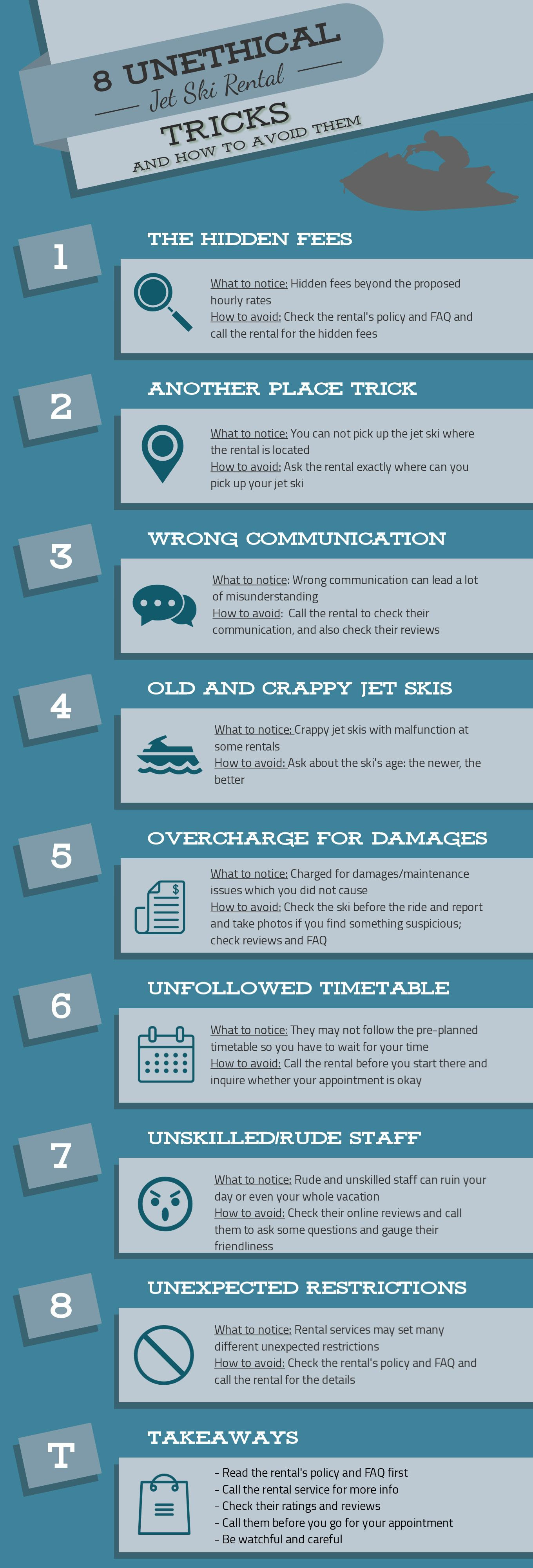 8 Most Unethical Jet Ski Rental Tricks To Avoid Infographic Jetdrift Jet Ski Rentals Jet Ski Skiing