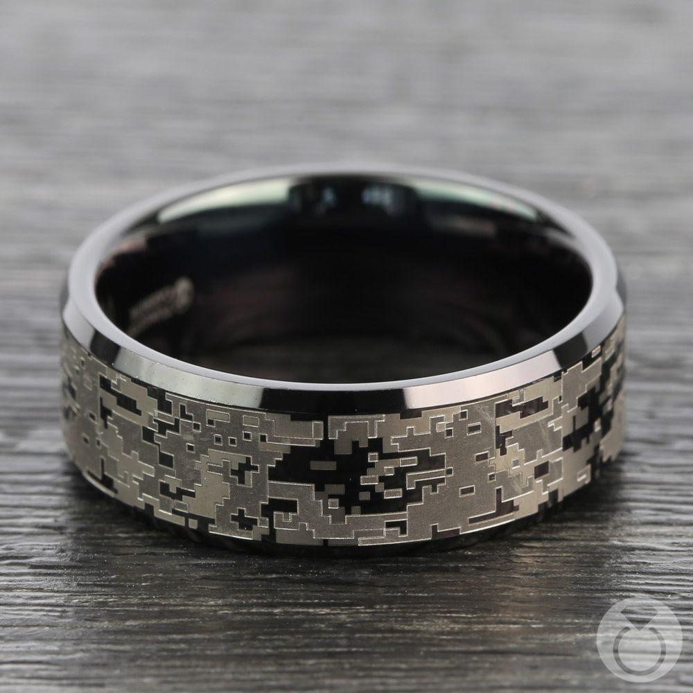Digital Camo Men's Wedding Ring In Tungsten Mens wedding