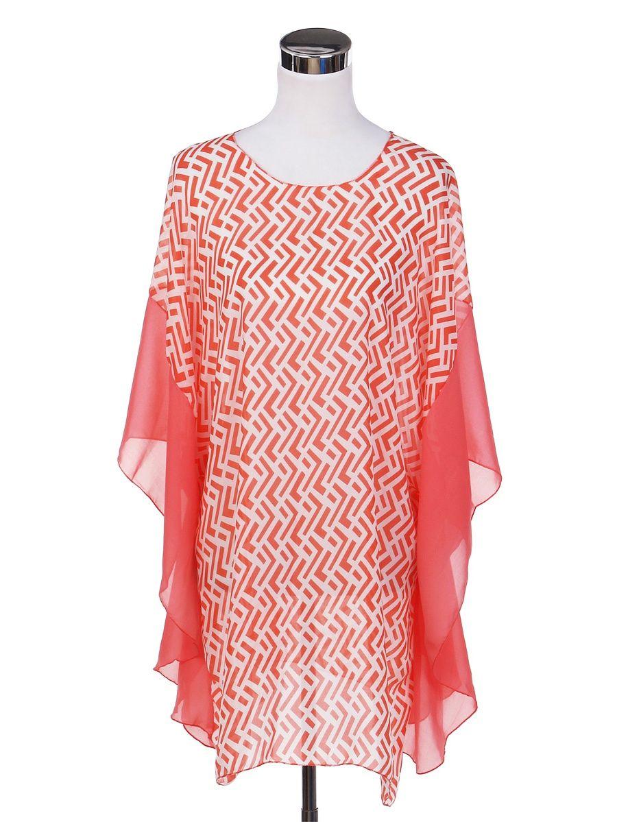 9f3ac41bf TrendsBlue Chiffon Geometric Sheer Kimono Wrap Blouse Poncho Beach Cover Up#Sheer,  #Kimono, #Geometric