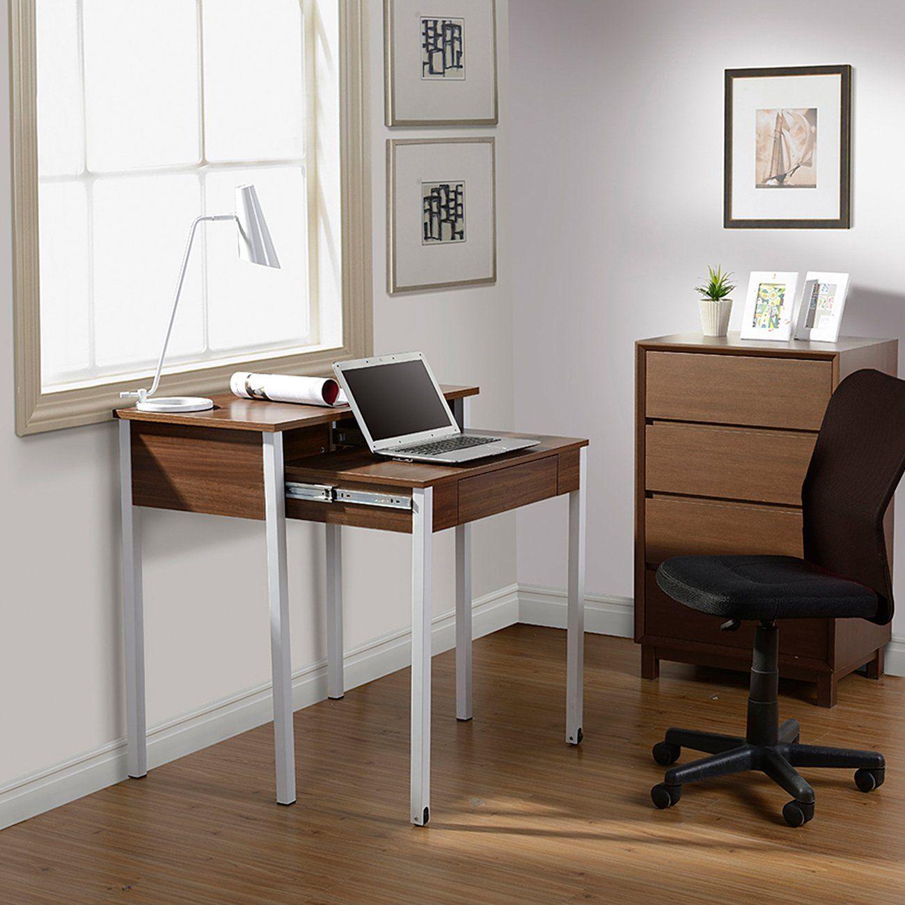 Techni Mobili Retractable 1 Drawer Writing Deskbrown In 2021 Student Desks Furniture Space Saving