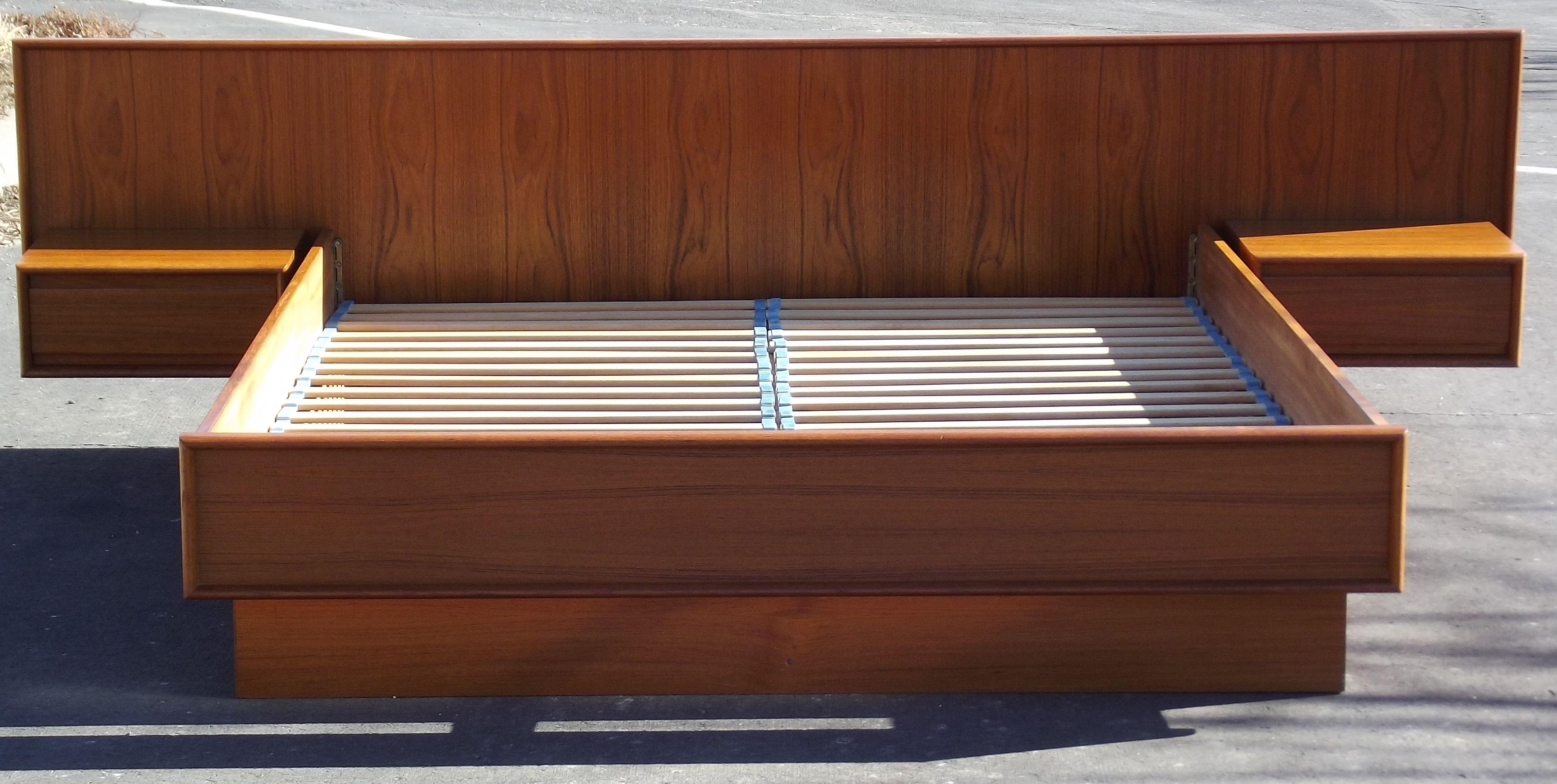 Danish Teak Queen Platform Bed with Floating Nightstands
