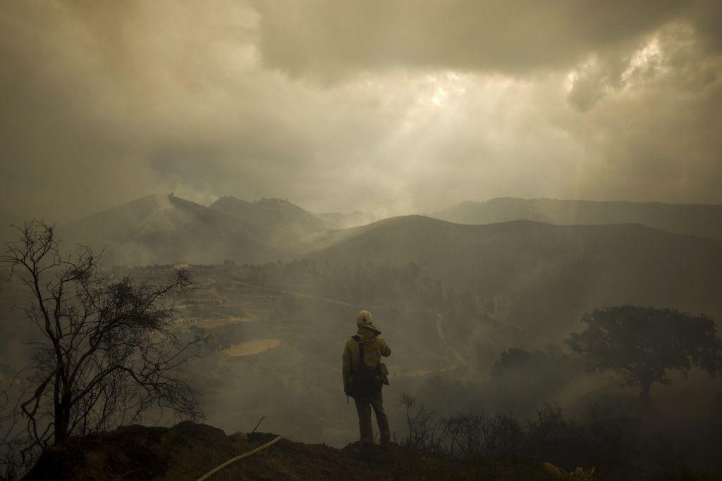 Bombero observando el lugar arrasado por el incendio en Ojen, cerca de Málaga, España. | Jorge Guerrero