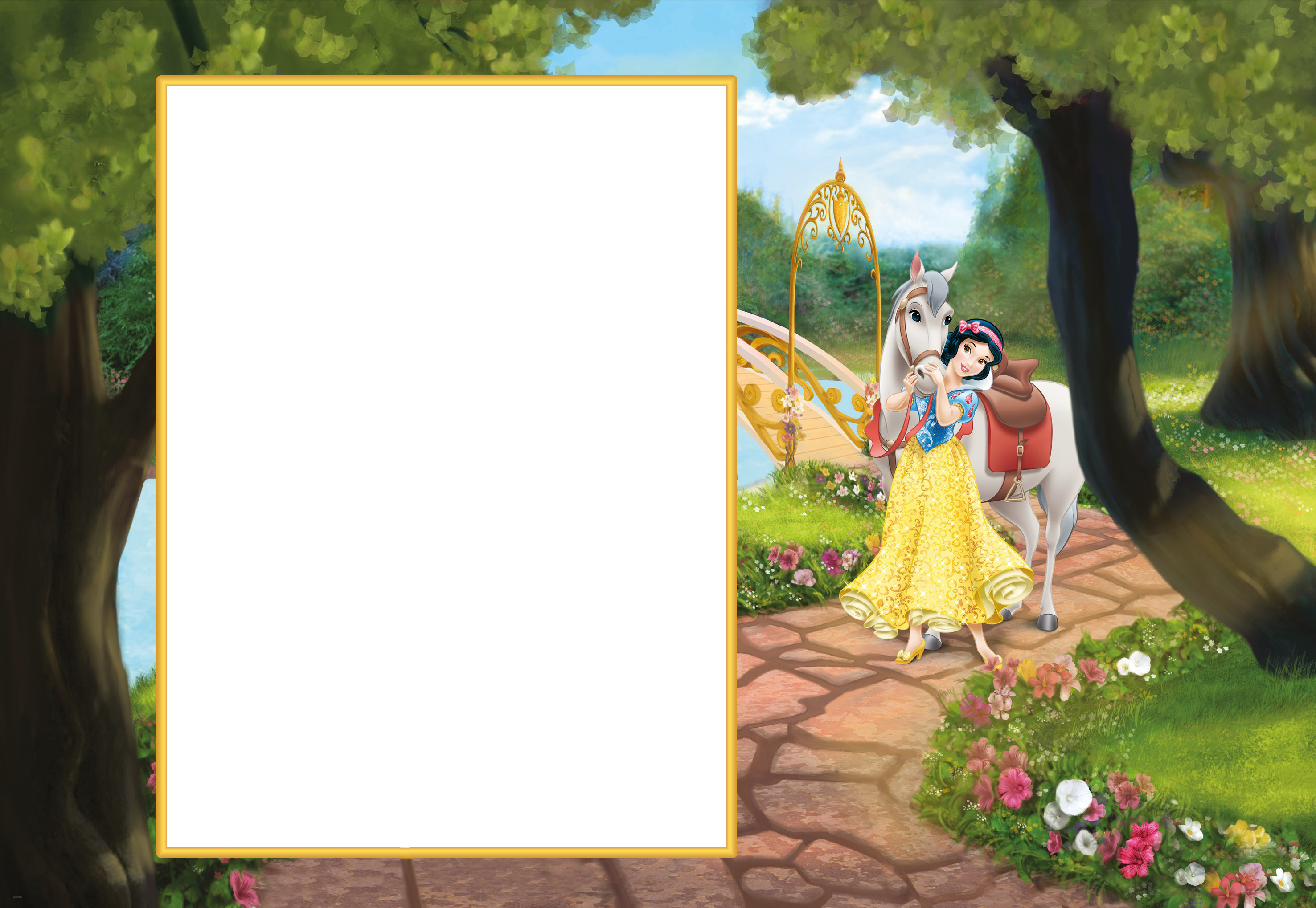 Pumba And Timon Transparen Kids Png Photo Frame: Princess Snow White Cute Transparent PNG Frame