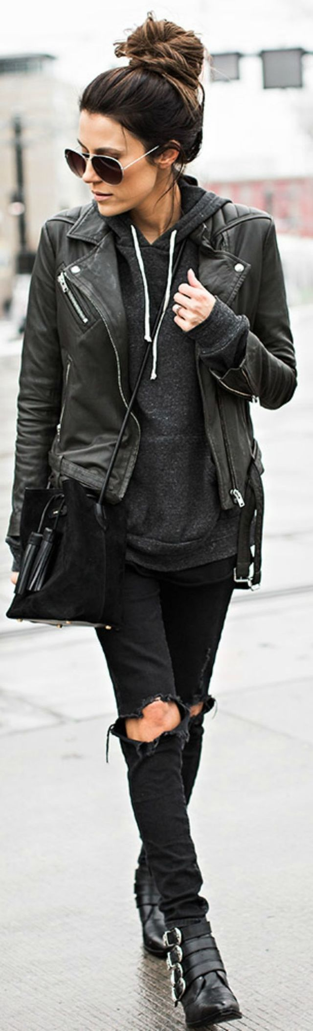 Rock n roll style grunge fashion weekend style work day outfit black  leather jacket distressed ripped black jeans all black everything d8b4e9d3fc