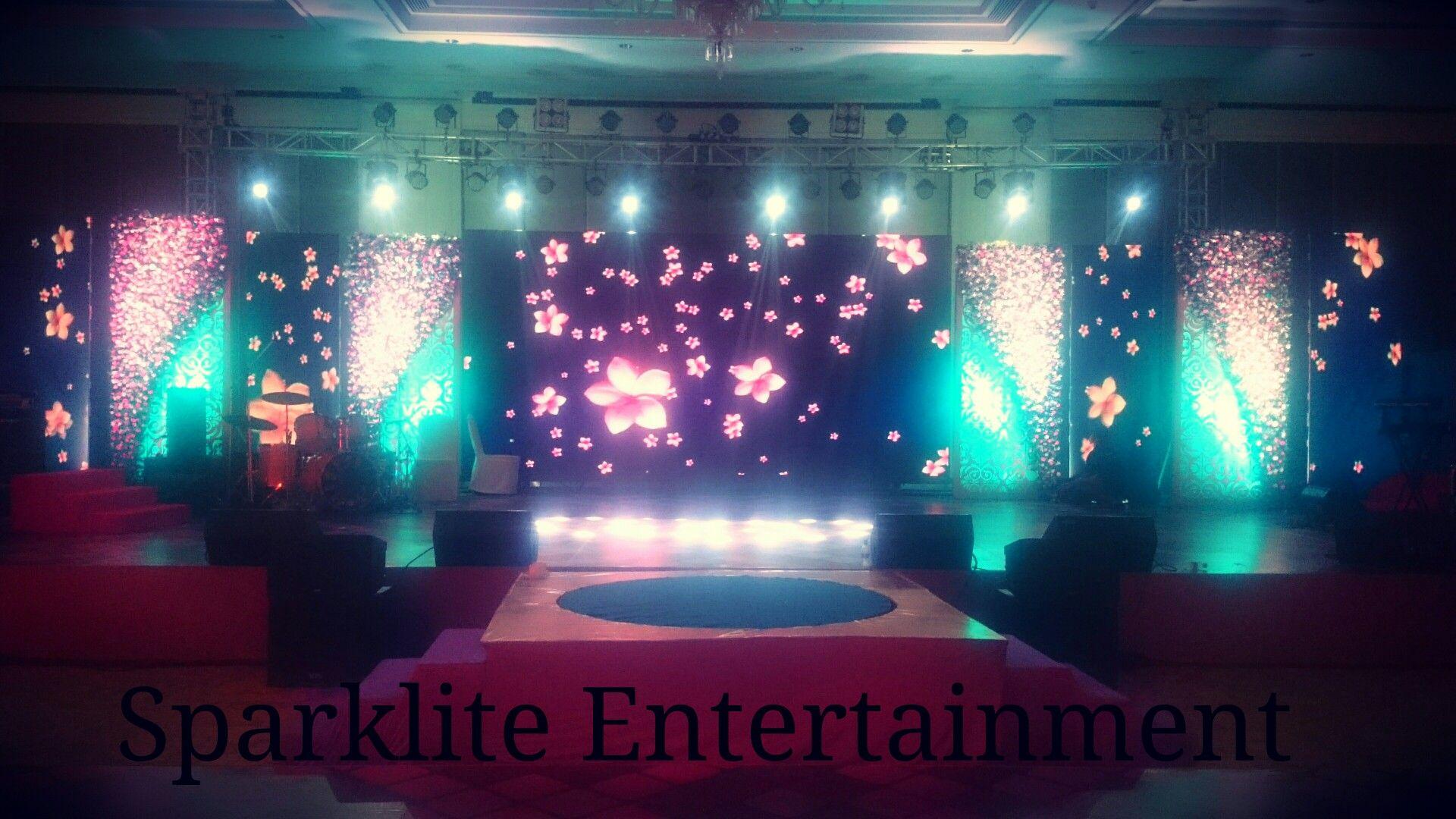 Indoor led stage decor for sangeet sparklite for Indoor stage decoration