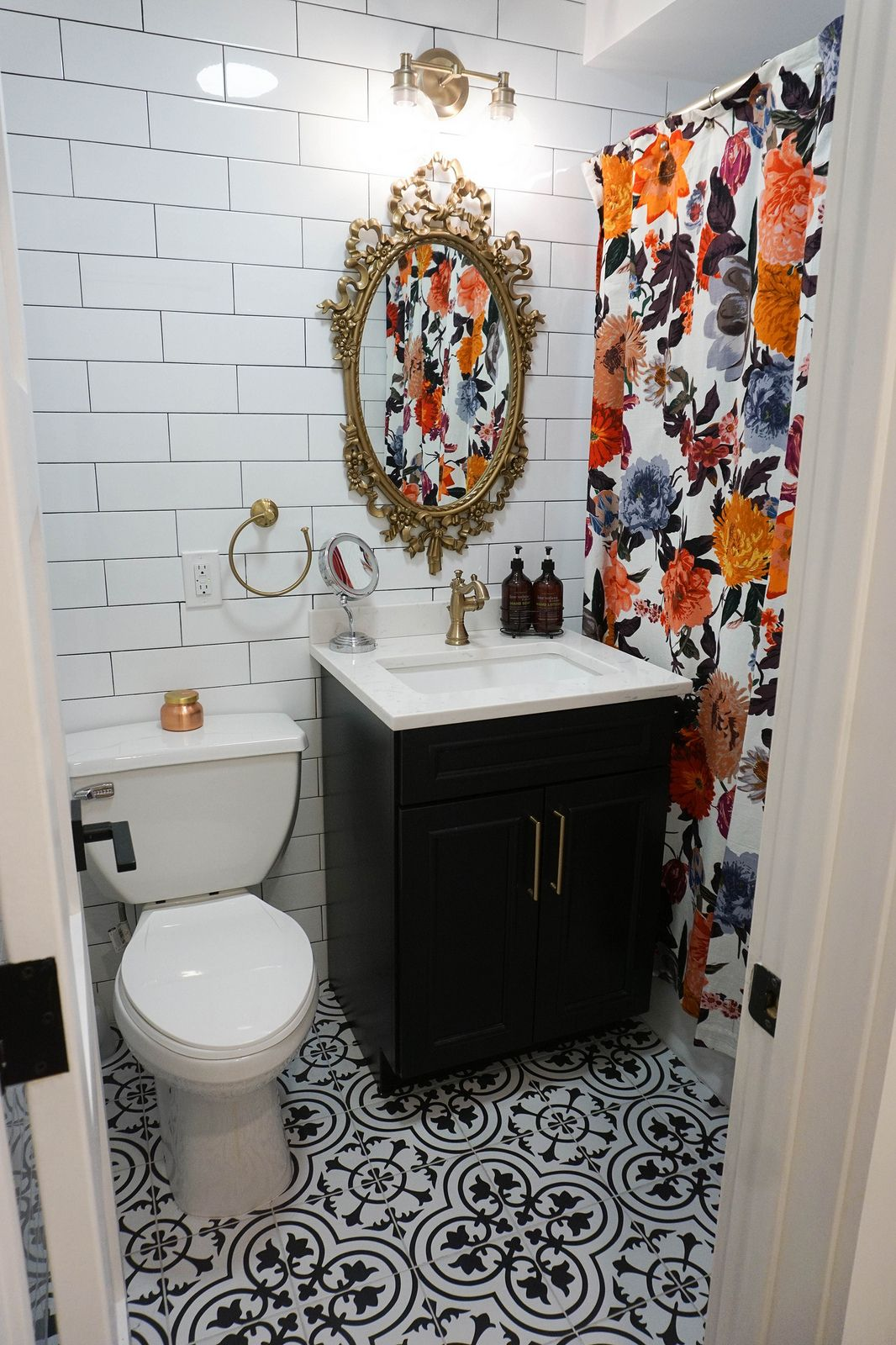 My Entire Apartment Renovation After Photos Living After Midnite Floral Shower Curtains Apartment Renovation Gold Bathroom